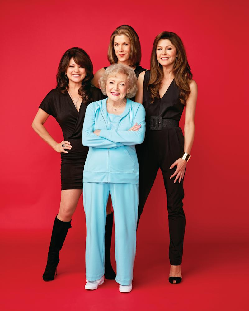 """Valerie Bertinelli, left, stars alongside Betty White, front, Wendie Malick, back middle, and Jane Levee in """"Hot in Cleveland."""" (Photo: getTV)"""