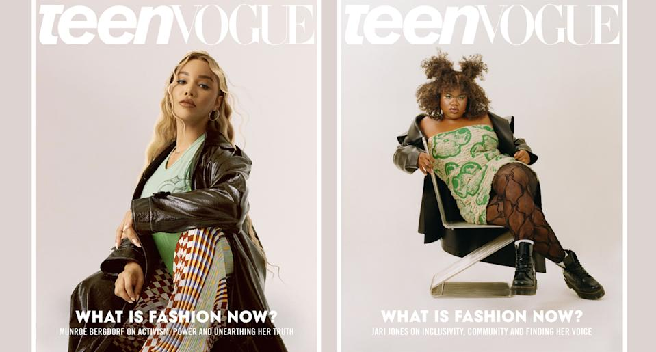 Munroe Bergdorf, left, and Jari Jones share a split cover for <em>Teen Vogue</em>'s September issue. (Photo: Teen Vogue)