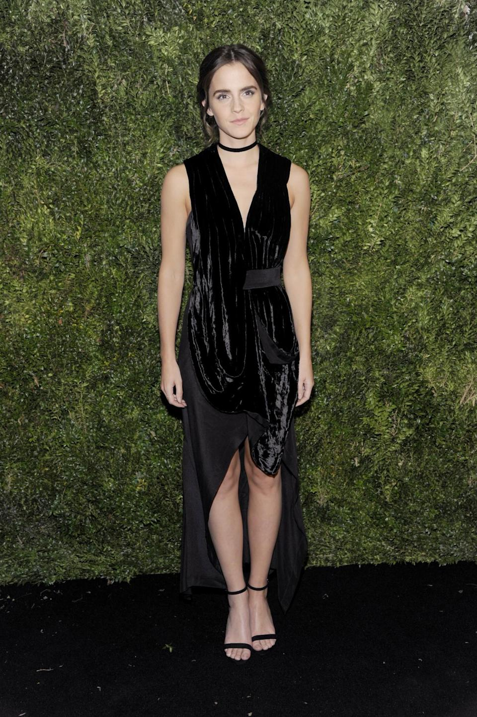 <p>The British actress worked a velvet mix LBD by KITX at the star-studded event. <i>[Photo: Getty]</i> </p>