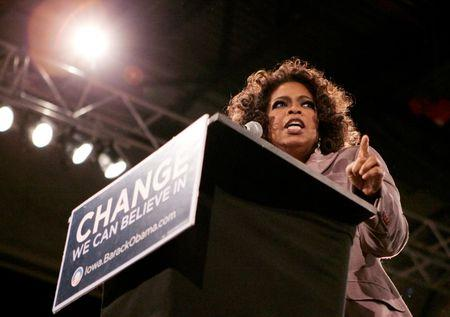 FILE PHOTO: Oprah Winfrey speaks at a rally in Des Moines Iowa