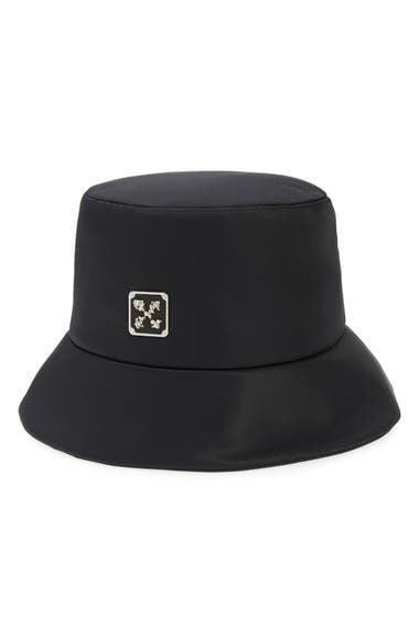 <p>This splurge-worthy <span>Off-White Leaf Arrows Plaque Bucket Hat</span> ($270) is effortlessly cool.</p>