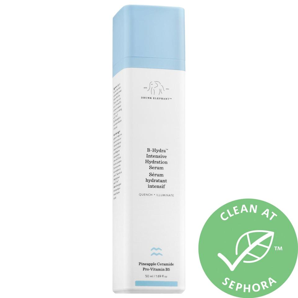 """<p>Many of <a href=""""https://www.popsugar.com/beauty/Drunk-Elephant-B-Hydra-Intensive-Hydration-Gel-Review-44797872"""" class=""""link rapid-noclick-resp"""" rel=""""nofollow noopener"""" target=""""_blank"""" data-ylk=""""slk:our editors rave"""">our editors rave</a> about the <span>Drunk Elephant B-Hydra Intensive Hydration Serum</span> ($52), a lightweight hydrator that can take the place of moisturizer in the Summer.</p>"""