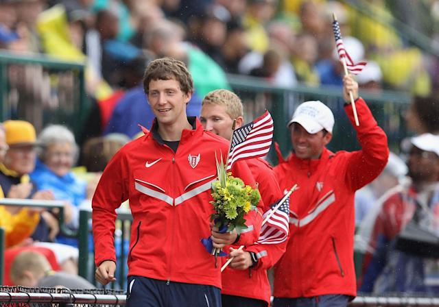 EUGENE, OR - JUNE 30: Trevor Barronon (L) takes his victory lap after winning the Men's 20000 Meter Race Walk on day nine of the U.S. Olympic Track & Field Team Trials at the Hayward Field on June 30, 2012 in Eugene, Oregon. (Photo by Christian Petersen/Getty Images)