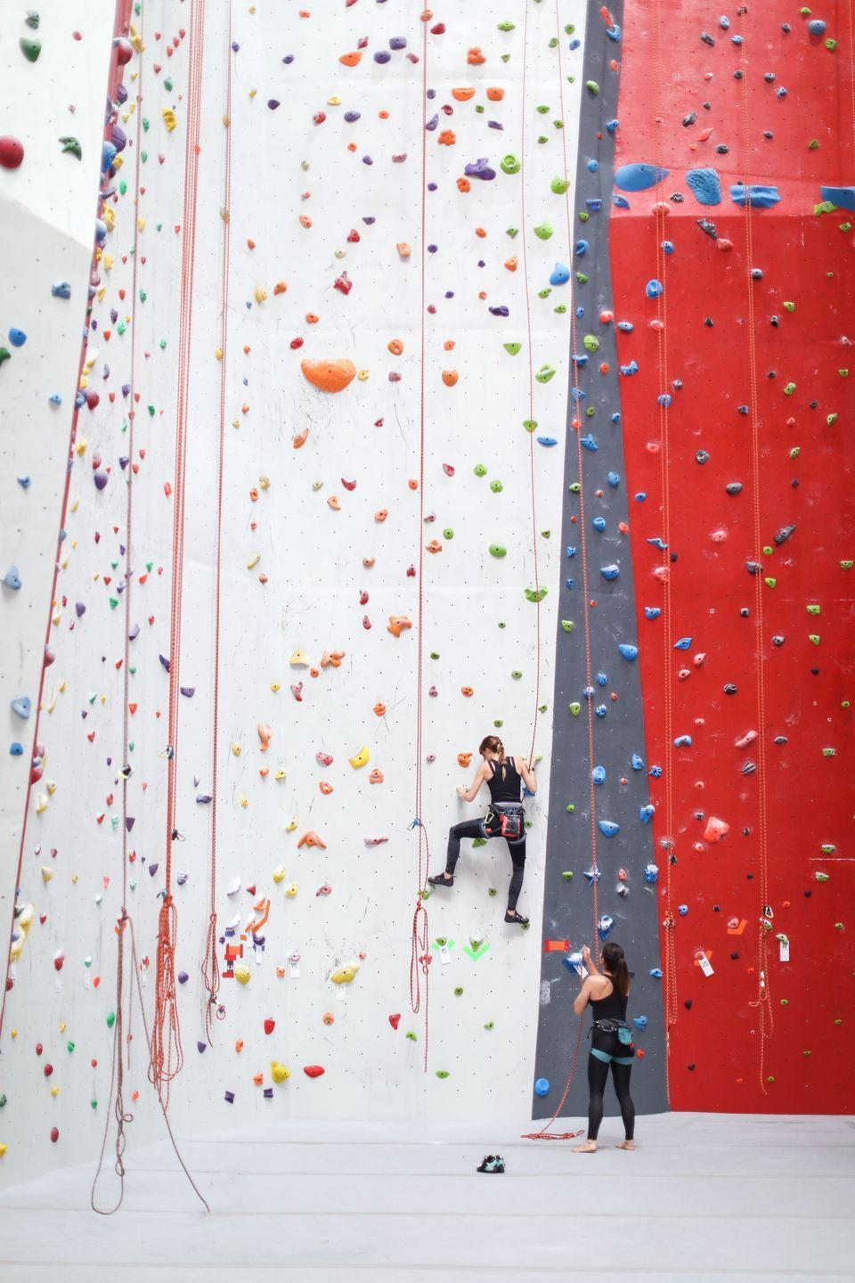<p>Get an adrenaline rush by hitting a nearby indoor rock climbing gym. If you're already experienced or if you're just up for the challenge, you can try your hand at bouldering, which is free climbing.</p>
