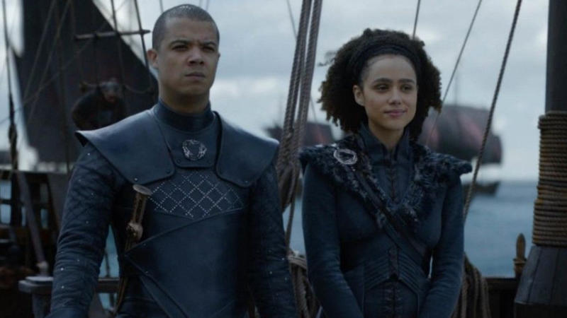 Jacob Anderson as Grey Worm and Nathalie Emmanuel as Missandei in 'Game of Thrones'. (Credit: HBO)
