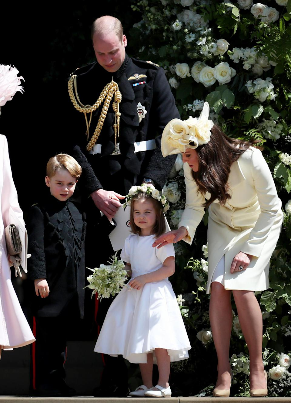 Prince George and Princess Charlotte acted as page boy and bridesmaid on the day. [Photo: Getty]
