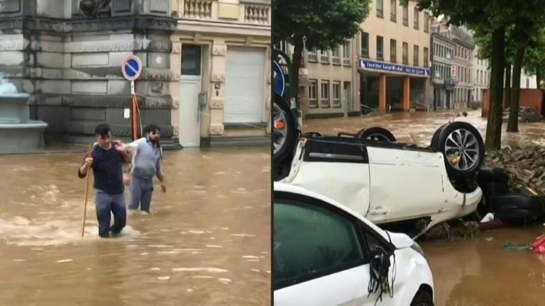Car flipped upside down in flooded Belgium town of Verviers