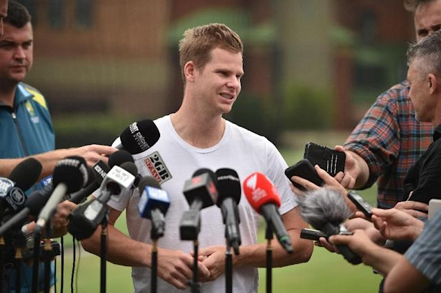 Former Australian captain Steve Smith (pictured December 2018), who is currently serving a one-year ban from international cricket, Australia's domestic Sheffield Shield and Big Bash leagues over a ball-tampering scandal, will undergo elbow surgery (AFP Photo/PETER PARKS)