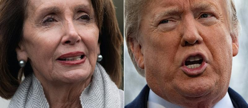 US President Donald Trump is daring opponents to initiate proceedings against him -- but Democratic House Speaker Nancy Pelosi is leading the charge against impeachment (AFP Photo/SAUL LOEB, Jim WATSON)