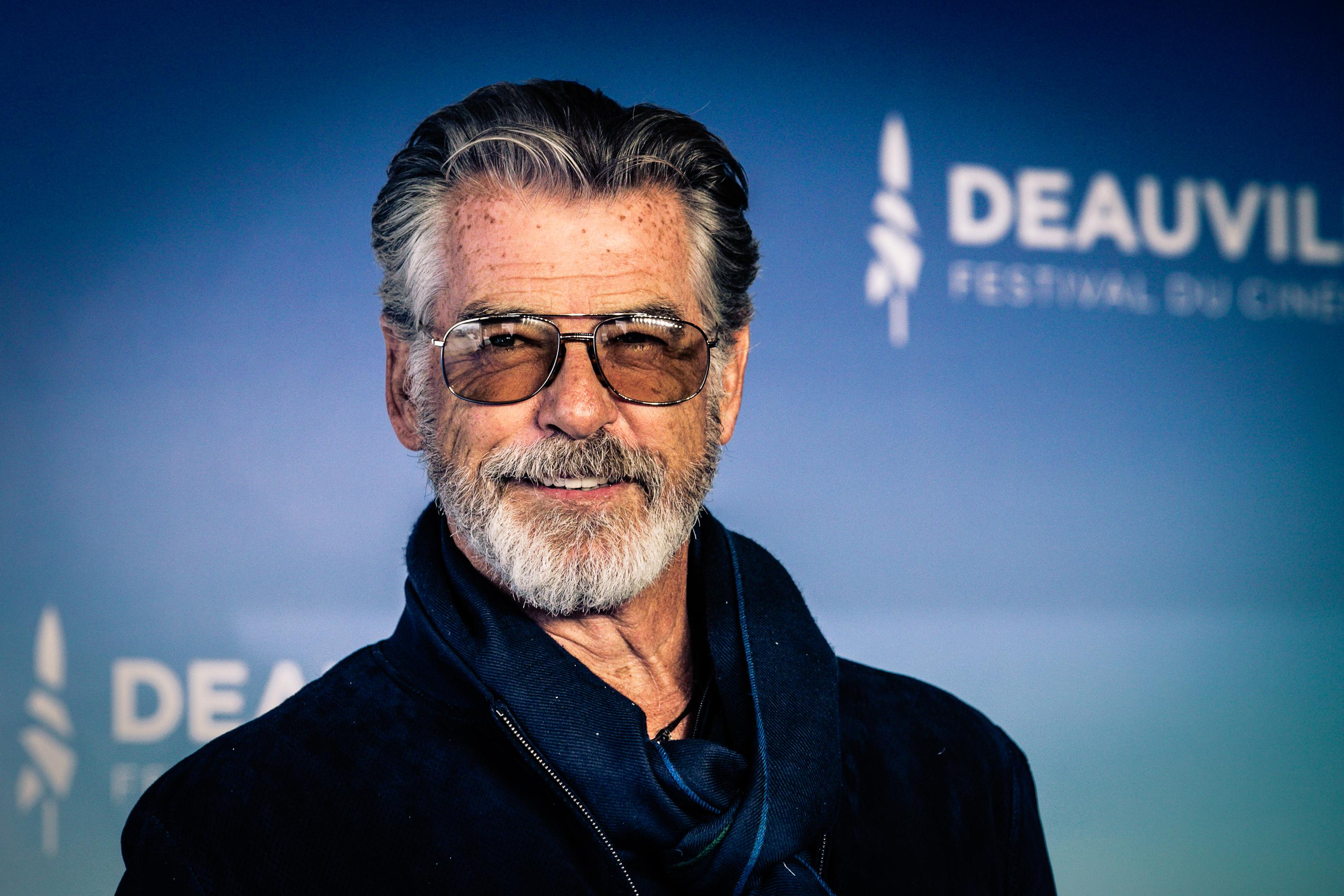 DEAUVILLE, FRANCE - SEPTEMBER 07: (EDITORS NOTE: image was processed with digital filters) Actor Pierce Brosnan attends a photocall during the 45th Deauville American Film Festival on September 07, 2019 in Deauville, France. (Photo by Marc Piasecki/WireImage)