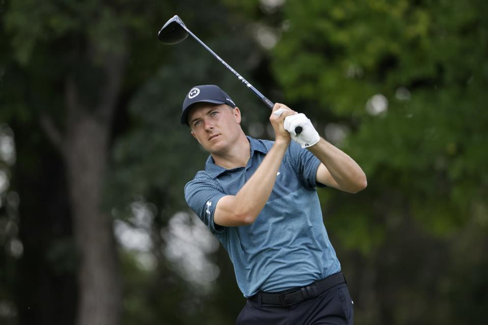 Jordan Spieth hits off the 12th tee during the third round of the Charles Schwab Challenge golf tournament at the Colonial Country Club in Fort Worth, Texas, Saturday May 29, 2021. (AP Photo/Ron Jenkins)