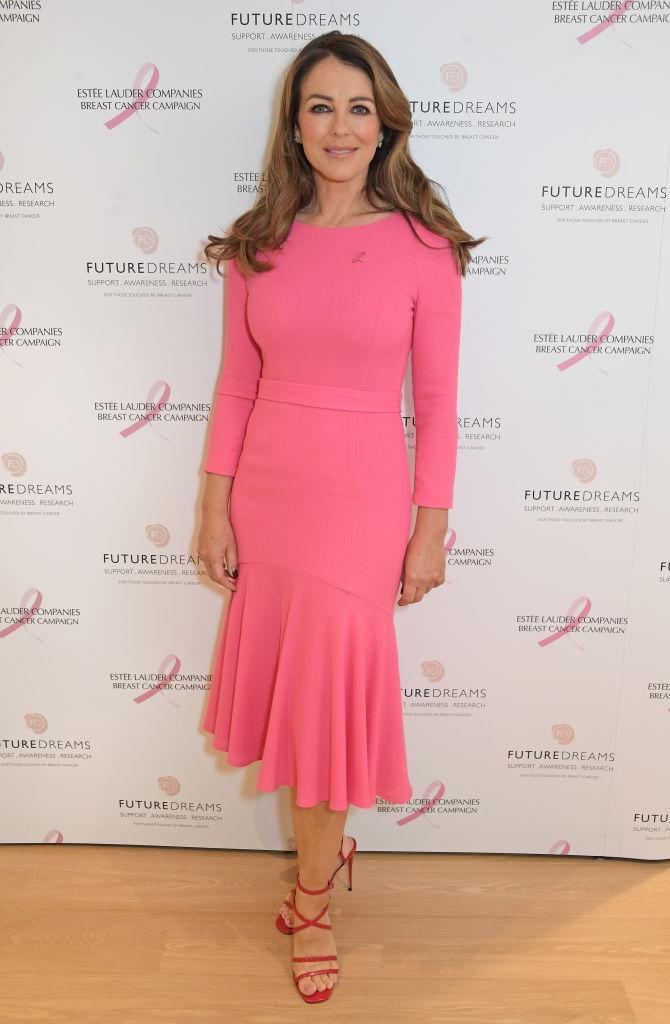 Elizabeth Hurley has been encouraging women to check their breasts for cancer, pictured in September 2021. (Getty Images)