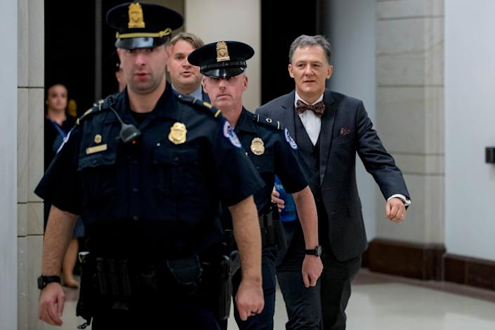 George Kent, deputy assistant secretary of state, leaving Capitol Hill after testifying in the impeachment hearings: AP
