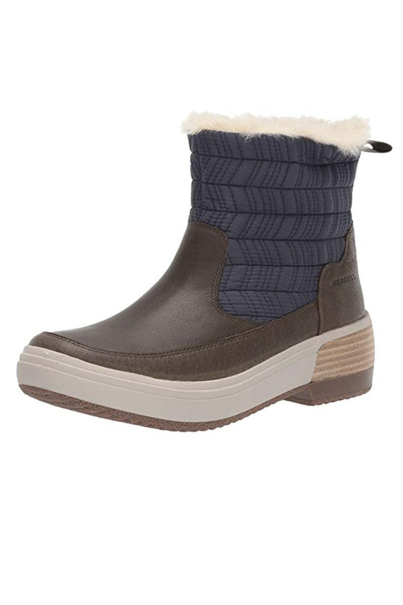 """<p><strong>Merrell</strong></p><p>zappos.com</p><p><strong>$149.95</strong></p><p><a href=""""https://go.redirectingat.com?id=74968X1596630&url=https%3A%2F%2Fwww.zappos.com%2Fp%2Fmerrell-haven-bluff-polar-waterproof%2Fproduct%2F9257580&sref=https%3A%2F%2Fwww.marieclaire.com%2Ffashion%2Fg3388%2Fsnow-boots-for-women%2F"""" rel=""""nofollow noopener"""" target=""""_blank"""" data-ylk=""""slk:SHOP IT"""" class=""""link rapid-noclick-resp"""">SHOP IT</a></p><p>This boot has it all, from a shock-absorption supportive heel to a shearling-lined interior for that plush, cozy feel. It's completely waterproof, so go ahead and spend hours trekking in the snow or building a snowman with your baby cousins—your feet will stay dry and warm.</p>"""
