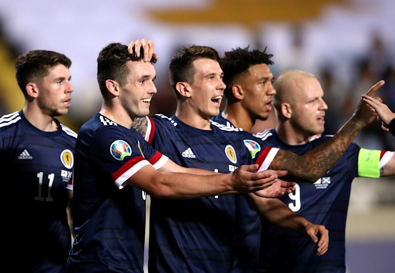 Scotland's John McGinn celebrates scoring his sides second goal. (Credit: Getty Images)