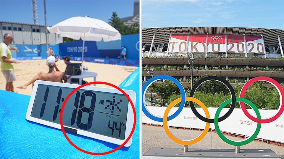 Beach volleyball training (pictured left) in 44C heat and (pictured right) the Olympic rings in Tokyo.