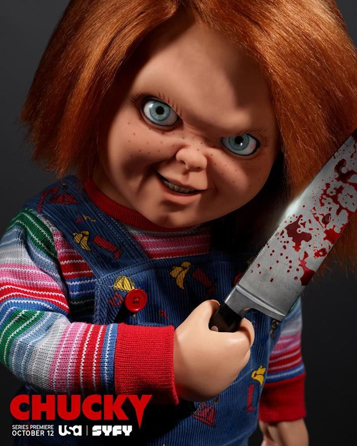 The doll Chucky holds a knife on the poster for the TV series