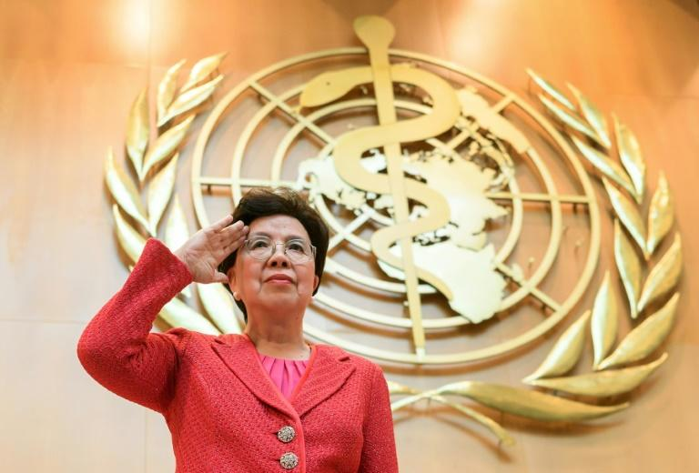 Outgoing WHO director-general Margaret Chan waves after delivering her last speech before the delegates on the opening day of the World Health Assembly, the WHO's annual meeting, on May 22, 2017, in Geneva