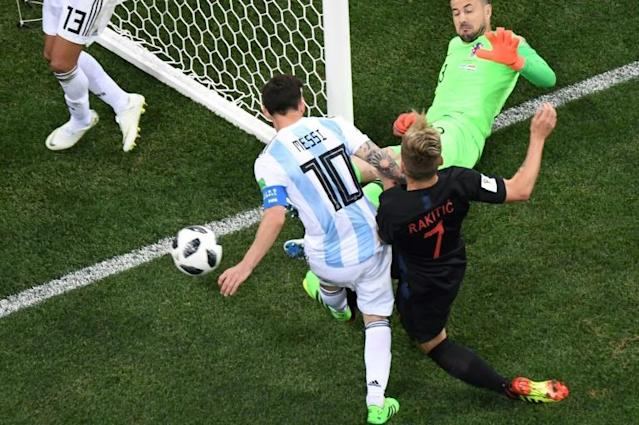 Argentina's forward Lionel Messi (L) fails to score against Croatia's goalkeeper Danijel Subasic during the Russia 2018 World Cup Group D football match, which Croatia went on to win 3-0 (AFP Photo/Kirill KUDRYAVTSEV)