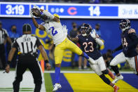 Los Angeles Rams wide receiver Robert Woods makes a catch in the end zone for a touchdown as Chicago Bears defensive back Marqui Christian (23) defends during the second half of an NFL football game, Sunday, Sept. 12, 2021, in Inglewood, Calif. (AP Photo/Jae C. Hong)