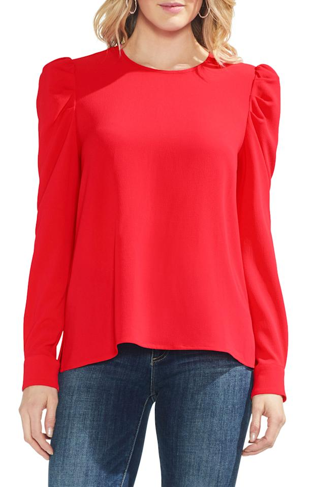 "<p><strong>Vince Camuto</strong></p><p>nordstrom.com</p><p><strong>$47.40</strong></p><p><a rel=""nofollow"" href=""https://shop.nordstrom.com/s/vince-camuto-puff-shoulder-crepe-blouse/5150557"">SHOP NOW</a></p><p>Puffy sleeves add some fun to a basic long-sleeved blouse. Pair this cherry red shirt with <a rel=""nofollow"" href=""https://www.womansday.com/style/fashion/g648/stylish-jeans-for-every-shape-111173/"">dark wash jeans</a>, black dress pants, or a skirt - the possibilities are endless. </p>"