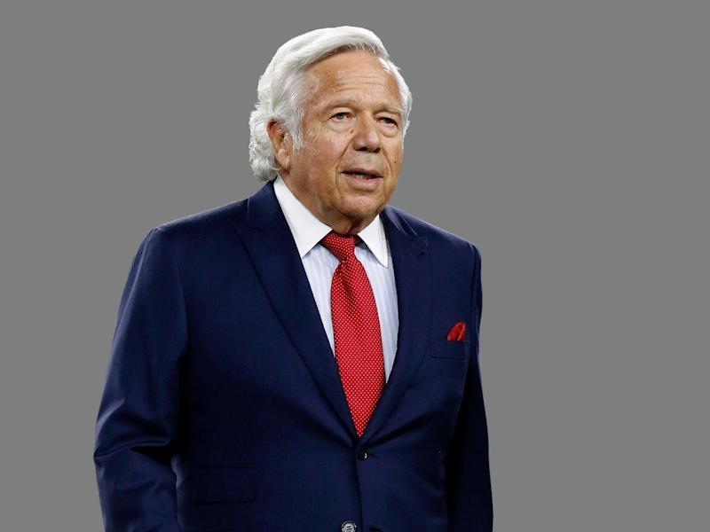 Robert Kraft headshot, as New England Patriots owner, graphic element on gray