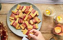 """<p><strong>Recipe: <a href=""""https://www.southernliving.com/recipes/bacon-bow-tie-crackers-recipe"""" rel=""""nofollow noopener"""" target=""""_blank"""" data-ylk=""""slk:Bacon Bow Tie Crackers"""" class=""""link rapid-noclick-resp"""">Bacon Bow Tie Crackers</a></strong></p> <p>We're here to share the good news that you can create a warm and delicious snack with just two ingredients. </p>"""