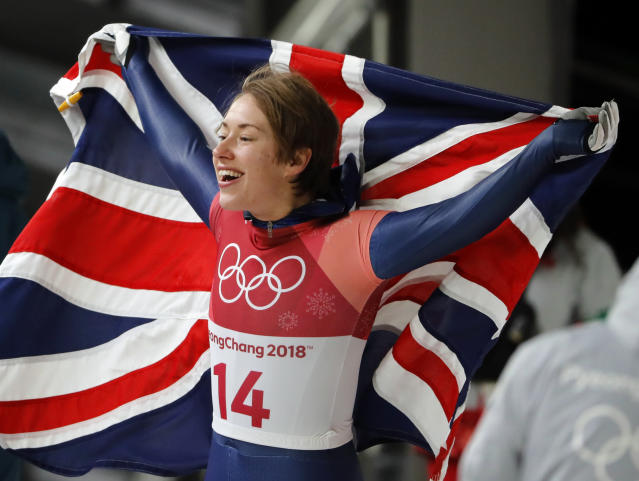Lizzy Yarnold of Britain reacts to her gold medal finish after the final run of the women's skeleton competition at the 2018 Winter Olympics in Pyeongchang, South Korea, Saturday, Feb. 17, 2018. (AP Photo/Andy Wong)