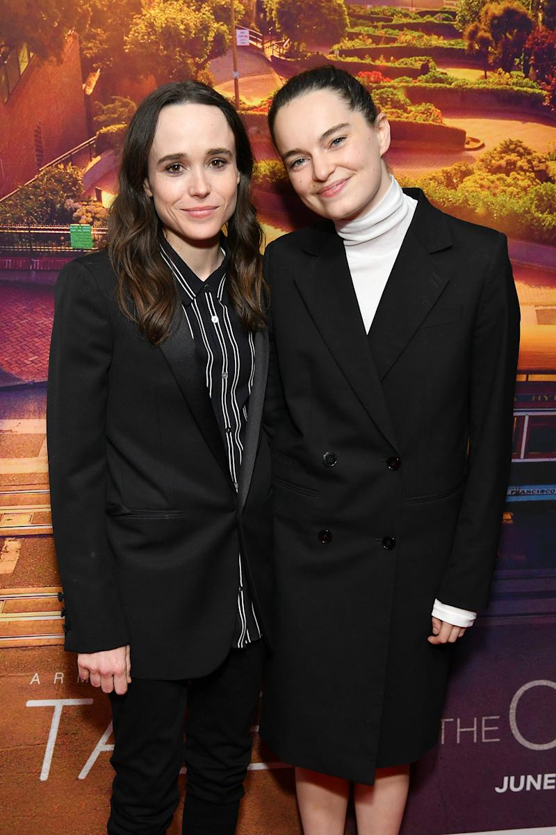 "NEW YORK, NEW YORK - JUNE 03: Ellen Page (L) and Emma Portner attend the ""Tales of the City"" New York premiere at The Metrograph on June 03, 2019 in New York City. (Photo by Dia Dipasupil/WireImage)"