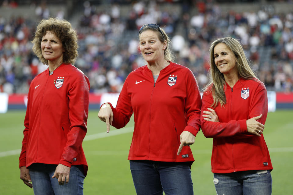 (Left to right) Michelle Akers, Cindy Parlow Cone and Brandi Chastain are all pledging their brains to research, and that's important for a number of reasons. (Photo by Meg Oliphant/Getty Images)