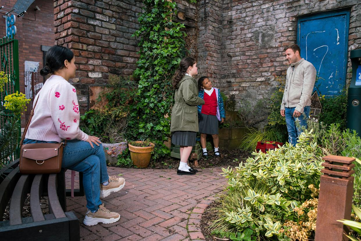 FROM ITV  STRICT EMBARGO - No Use Before Tuesday 29th June 2021  Coronation Street - Ep 10369  Monday 5th July 2021 - 2nd Ep  Tyrone Dobbs [ALAN HALSALL] and Alina Pop [RUXANDRA POROJNICU] break the news to Hope Stape [ISABELLA FLANAGAN] and Ruby Dobbs [MACY ALABI] that they're going to have a little brother or sister.   Picture contact David.crook@itv.com   Photographer - Danielle Baguley  This photograph is (C) ITV Plc and can only be reproduced for editorial purposes directly in connection with the programme or event mentioned above, or ITV plc. Once made available by ITV plc Picture Desk, this photograph can be reproduced once only up until the transmission [TX] date and no reproduction fee will be charged. Any subsequent usage may incur a fee. This photograph must not be manipulated [excluding basic cropping] in a manner which alters the visual appearance of the person photographed deemed detrimental or inappropriate by ITV plc Picture Desk. This photograph must not be syndicated to any other company, publication or website, or permanently archived, without the express written permission of ITV Picture Desk. Full Terms and conditions are available on  www.itv.com/presscentre/itvpictures/terms