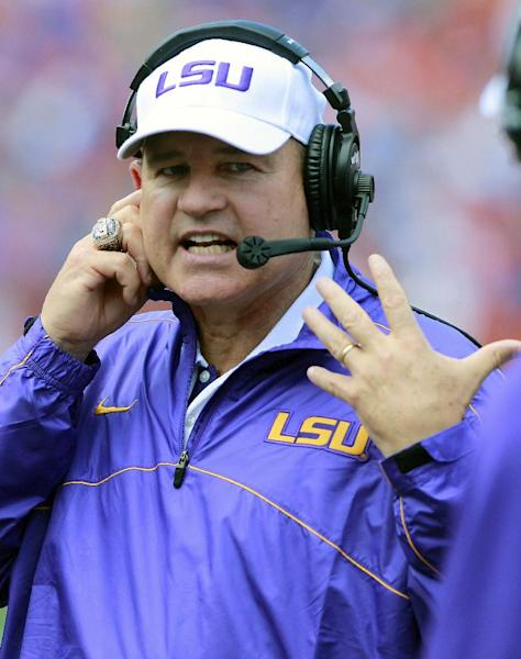 LSU head coach Les Miles yells to his bench after a penalty during the first half of an NCAA college football game against Florida, Saturday, Oct. 6, 2012, in Gainesville, Fla. (AP Photo/John Raoux)