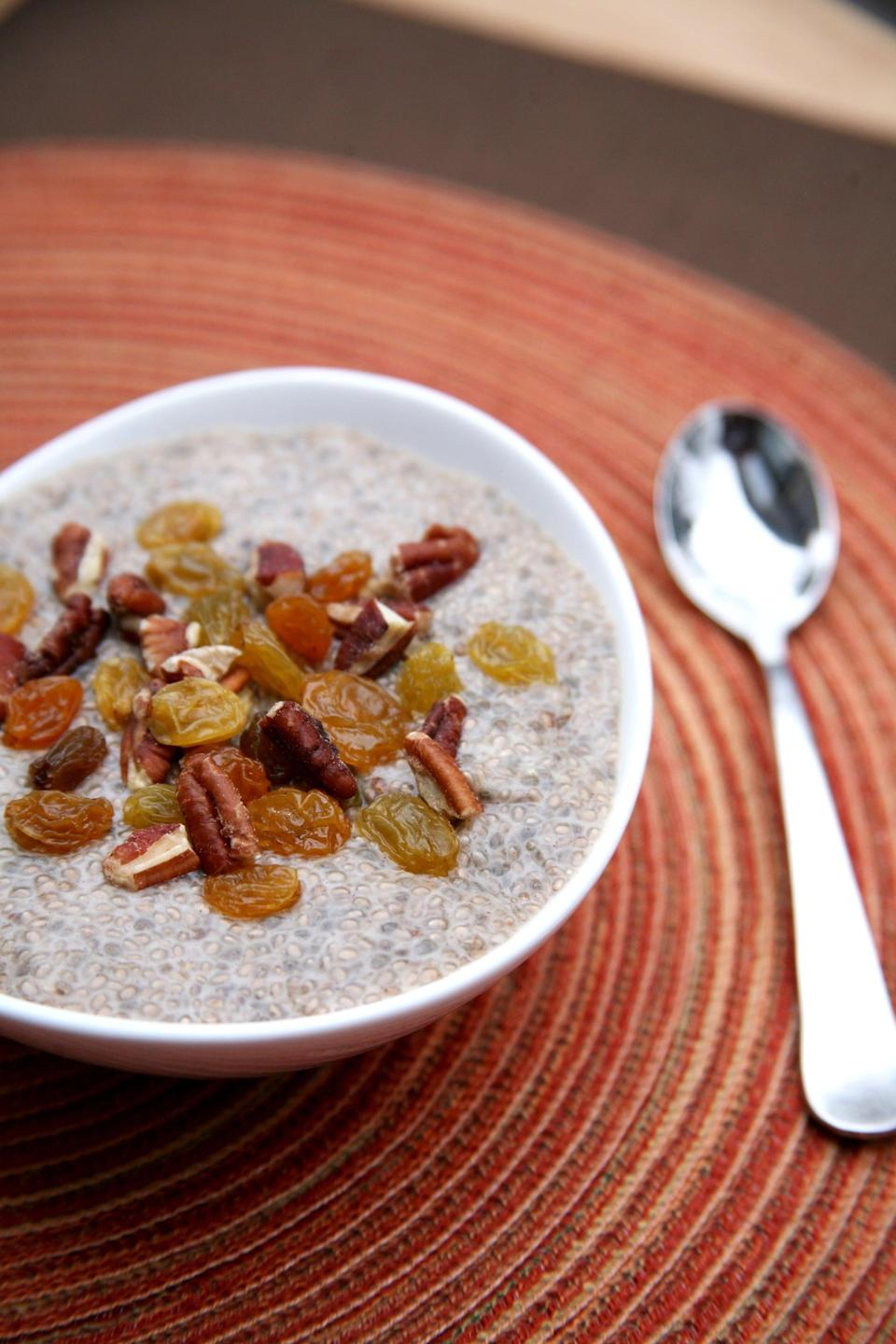 """<p>This breakfast will satisfy your cravings for sweetly spiced desserts, but it's healthy enough for breakfast.</p> <p><strong>Get the recipe:</strong> <a href=""""https://www.popsugar.com/fitness/Gingerbread-Chia-Pudding-39396728"""" class=""""link rapid-noclick-resp"""" rel=""""nofollow noopener"""" target=""""_blank"""" data-ylk=""""slk:bowl of chia pudding"""">bowl of chia pudding</a></p>"""