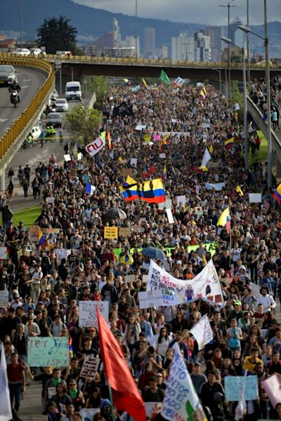 Anti-government demonstrators take to the streets of Bogota on Monday in Colombia's second general strike in a week