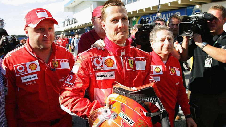 Michael Schumacher, pictured here with Jean Todt (R) in 2006.