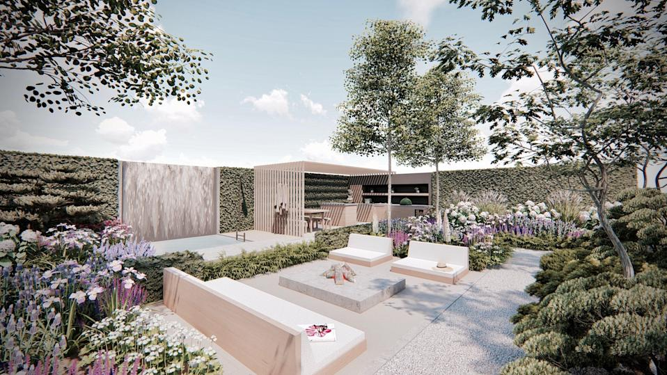 Designer Will William's high-spec show garden is backed by a shiny waterfall among opulent plants (Will Williams)