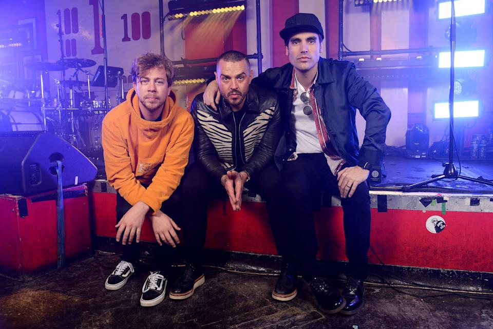 LONDON, ENGLAND - OCTOBER 29:  (L-R) James Bourne, Matt Willis and Charlie Simpson of Busted backstage ahead of playing their smallest gig ever at The 100 Club on October 29, 2018 in London, England. (Photo by Dave J Hogan/Dave J Hogan/Getty Images for Warner Music)