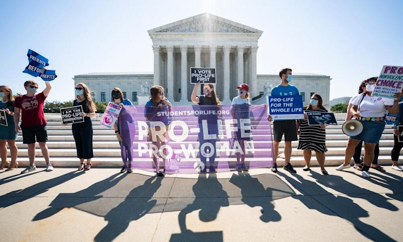 Anti-abortion protesters outside the Supreme Court in June.