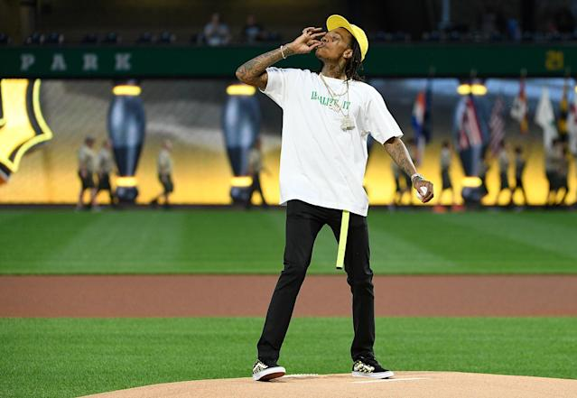 Wiz Khalifa earned the ire of MLB after endorsing marijuana before throwing out a first pitch. (Getty Images)