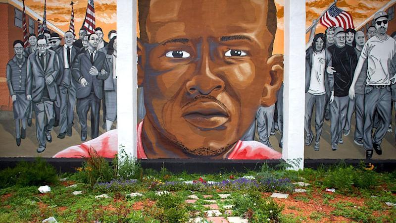 A mural for Freddie Gray in Baltimore, MD