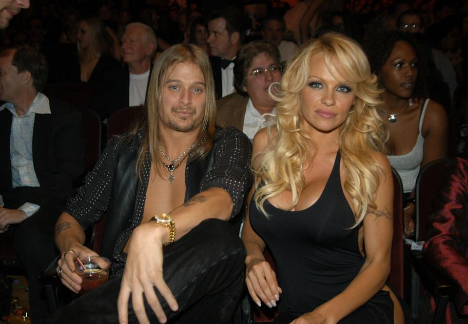 Kid Rock and Pamela Anderson during 31st Annual American Music Awards - Backstage and Audience at The Shrine Auditorium in Los Angeles, California, United States. (Photo by Jeff Kravitz/FilmMagic, Inc)