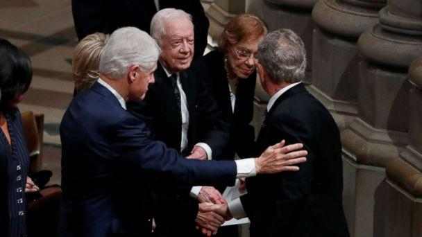 PHOTO: Former President George W. Bush greets former President Bill Clinton, former President Jimmy Carter and former first lady Rosalynn Carter at the state funeral for his father, former President George H.W. Bush in Washington, Dec. 5, 2018. (Kevin Lamarque/Reuters)