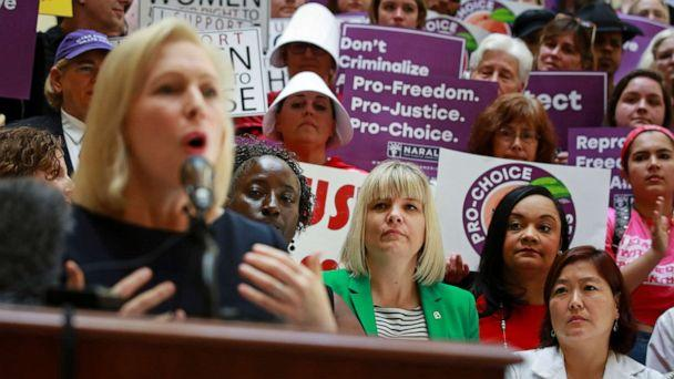 PHOTO: Senator Kirsten Gillibrand speaks after holding a roundtable discussion with abortion providers, health experts, pro-choice activists, and state legislators at the Georgia State House in Atlanta, May 16, 2019. (Elijah Nouvelage/Reuters)