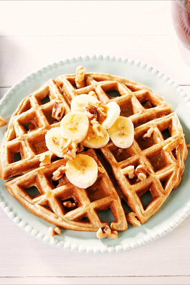 """<p>So many topping options. </p><p>Get the recipe from <a href=""""https://www.delish.com/cooking/recipe-ideas/a25622164/low-carb-waffles-recipe/"""" target=""""_blank"""">Delish</a>. </p>"""