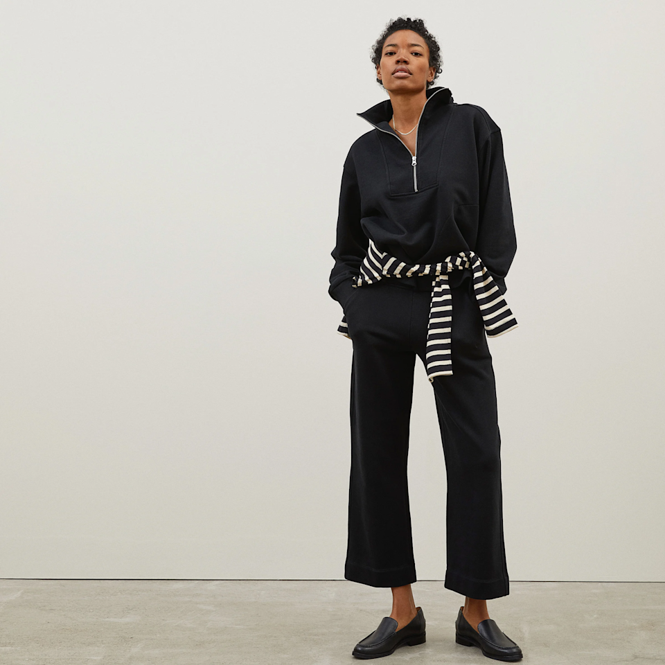 "<h3>Everlane</h3><br>Everlane just launched (literally just hours ago) a small collection of 100% organic track pieces. We're particularly fond of this half-zip and wide leg pant combo and their calming color options are spot on.<br><br><em>Shop </em><strong><em><a href=""https://www.everlane.com/collections/track"" rel=""nofollow noopener"" target=""_blank"" data-ylk=""slk:Everlane"" class=""link rapid-noclick-resp"">Everlane</a></em></strong><em><br></em><br><br><br><strong>Everlane</strong> The Track Wide-Leg Pant, $, available at <a href=""https://go.skimresources.com/?id=30283X879131&url=https%3A%2F%2Fwww.everlane.com%2Fproducts%2Fwomens-wide-leg-track-pant-black"" rel=""nofollow noopener"" target=""_blank"" data-ylk=""slk:Everlane"" class=""link rapid-noclick-resp"">Everlane</a><br><br><strong>Everlane</strong> The Track Half-Zip, $, available at <a href=""https://go.skimresources.com/?id=30283X879131&url=https%3A%2F%2Fwww.everlane.com%2Fproducts%2Fwomens-track-half-zip-black"" rel=""nofollow noopener"" target=""_blank"" data-ylk=""slk:Everlane"" class=""link rapid-noclick-resp"">Everlane</a>"