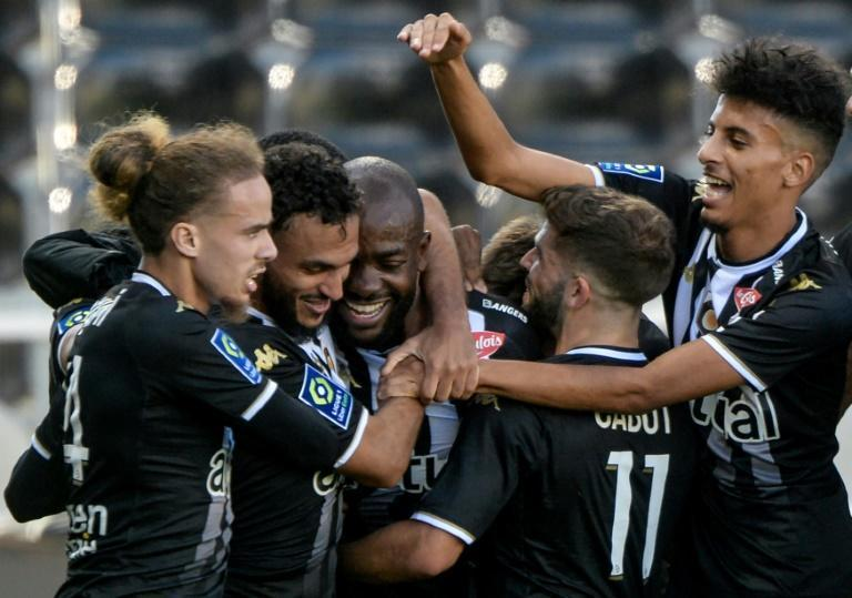 Angers forward Stephane Bahoken (3rd L) celebrates scoring against Metz in a French Ligue 1 match at the weekend (AFP/JEAN-FRANCOIS MONIER)