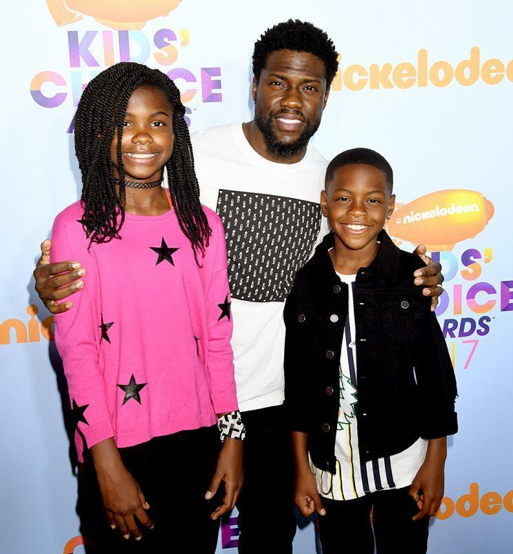 Kevin Hart took his kids, Heaven and Hendrix, to Nickelodeon's 2017 Kids' Choice Awards in March. (Photo: Jeff Kravitz/FilmMagic)