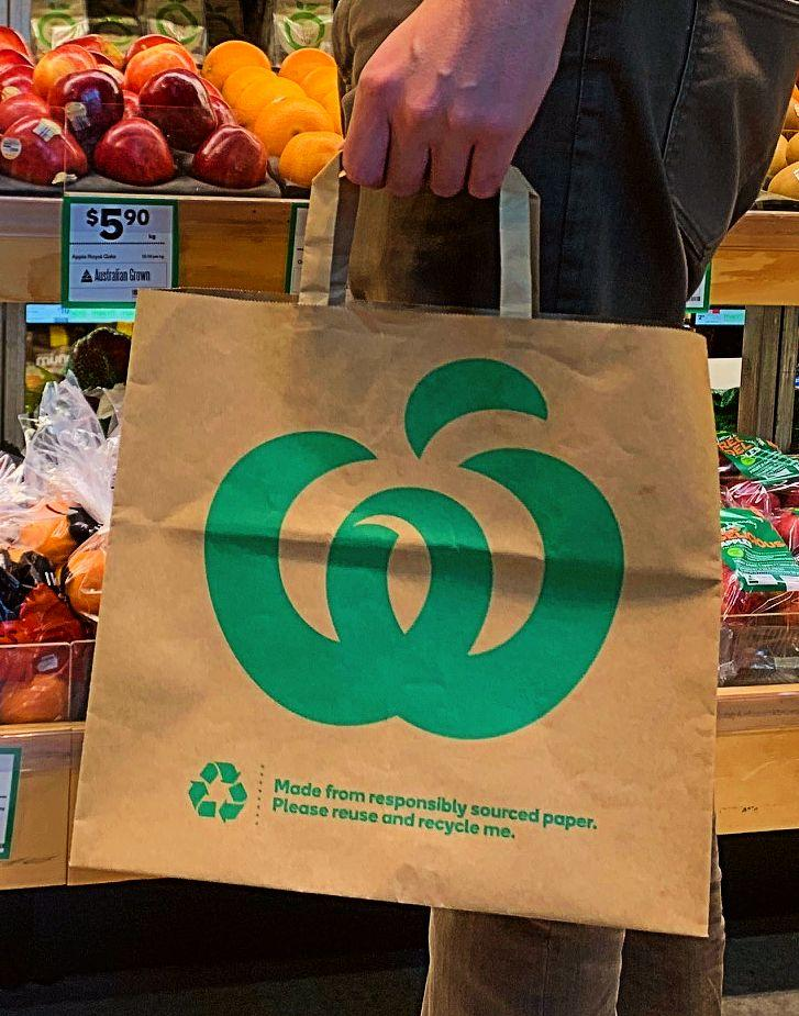 Woolworths will trial paper bags, which customers can recycle, at 20 stores across NSW, Victoria and Queensland. Source: Supplied.