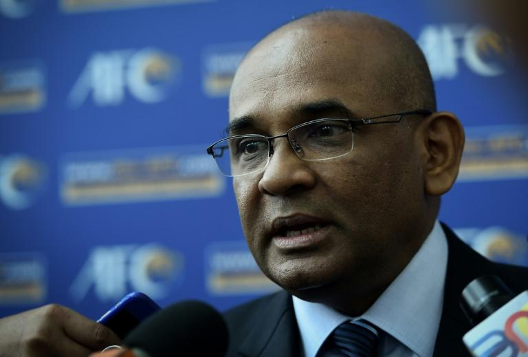 Asian Football Confederation (AFC) general secretary Windsor John speaks to journalists concerning the upcoming Asian Cup qualifying match between North Korea and Malaysia, at the AFC headquarters in Kuala Lumpur, on March 15, 2017