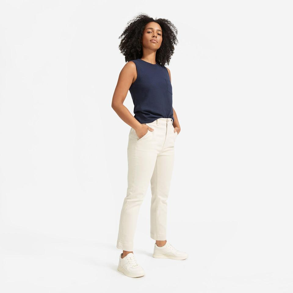"""<p><strong>everlane</strong></p><p>everlane.com</p><p><a href=""""https://go.redirectingat.com?id=74968X1596630&url=https%3A%2F%2Fwww.everlane.com%2Fproducts%2Fwomens-slim-straight-crop-ankle-sandstone&sref=https%3A%2F%2Fwww.womenshealthmag.com%2Fstyle%2Fg35904128%2Feverlane-spring-sale-restock-2021%2F"""" rel=""""nofollow noopener"""" target=""""_blank"""" data-ylk=""""slk:Shop Now"""" class=""""link rapid-noclick-resp"""">Shop Now</a></p><p><strong><del>$68</del> $34 (50% off)</strong></p><p>These cropped pants are so cozy, you'll forget you're not still in sweats. Not only are they incredibly versatile, but at 50 percent off right now, these are a no-brainer. </p>"""